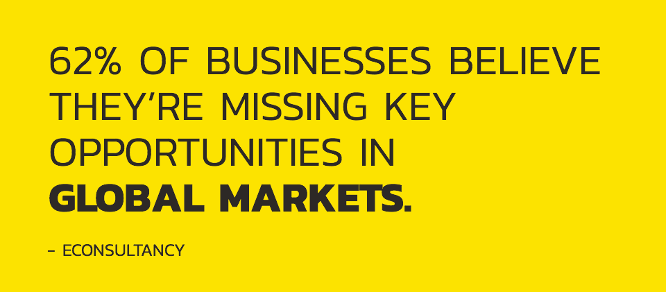 62% of businesses believe they're missing key opportunities in global markets - eConsultancy