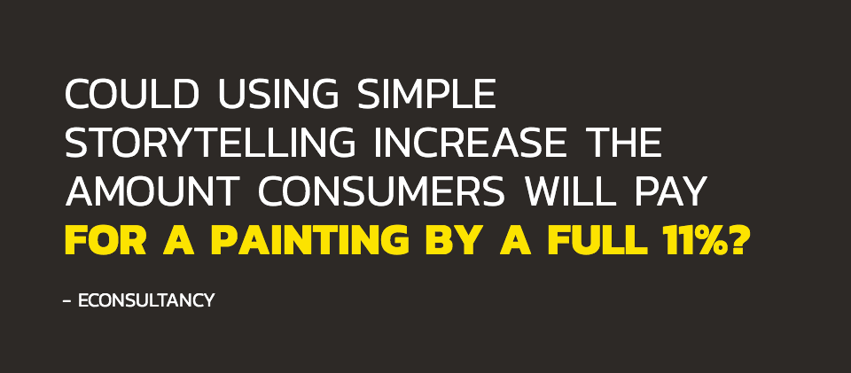 Could using simple storytelling increase the amount consumers will pay for a painting by a full 11%